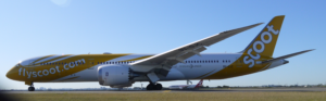 Scoot Boeing 787 Dreamliner lands at Sydney
