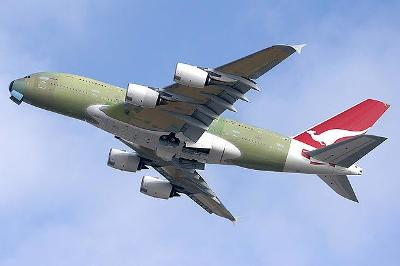 A QANTAS Airbus A380 is completed and flies to the Hamburg factory for paint and fit out