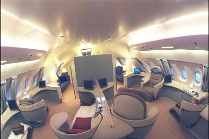 Airbus A380 First Class cabin in the forward upper deck