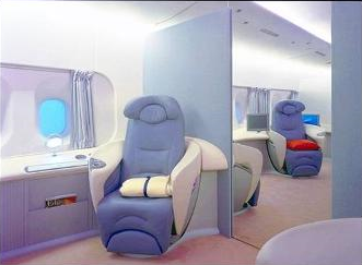 Airbus A380 First Class private cabin seating position