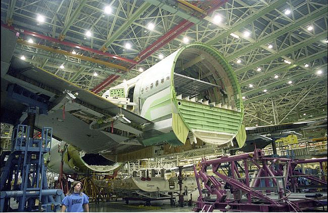 Boeing 747 assembly fuselage centre section