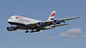British Airways Airbus A380 (G-XLEF) arrives London Heathrow 11April2015