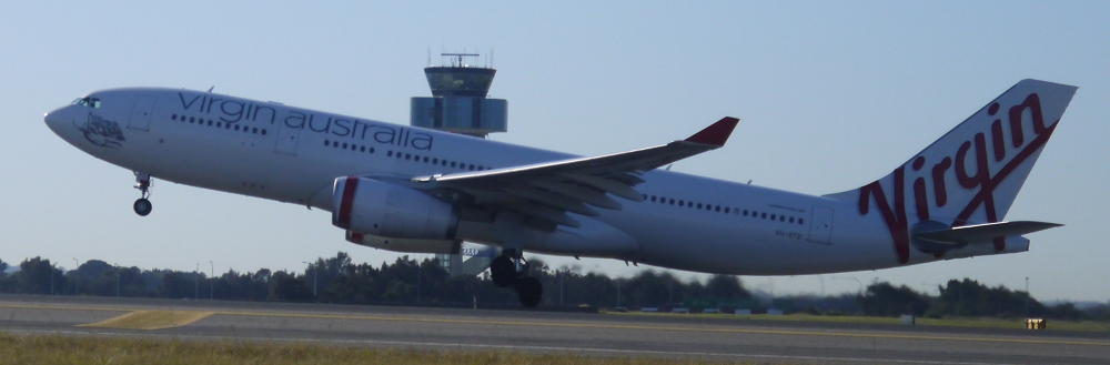 Virgin Australia Airbus A330 climbs out at Sydney_1_s
