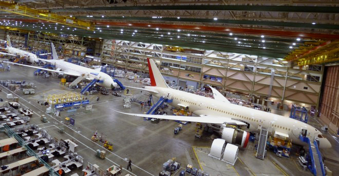 Boeing 787 near the end of assembly.