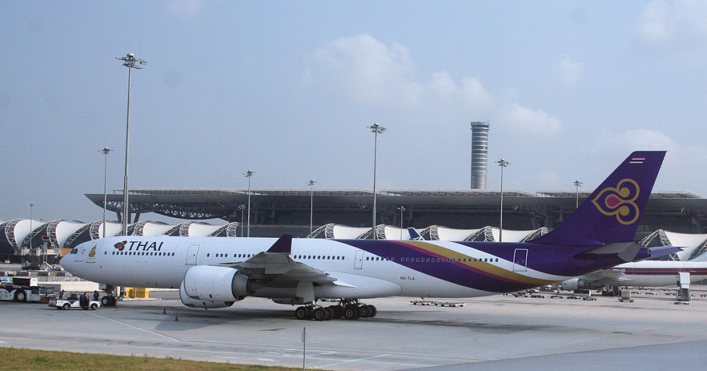 A Thai International Airbus A340 541 at Bangkok Suvarnabhumi Airport.