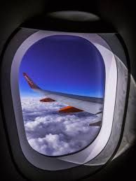Airliner window showing rounded shape