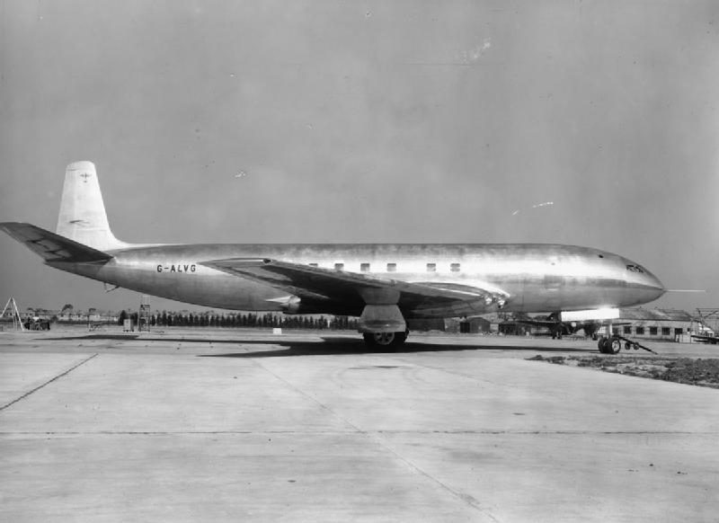A de-Haviland Comet airliner prototype at Hatfield England. You can notice the very square shape of the windows compared to those we are used to today. This was how it was done on propeller-driven airliners of the past, but was to prove fatal in the jet age.