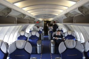 Lufthansa Boeing 747 first class cabin upstairs in the bubble