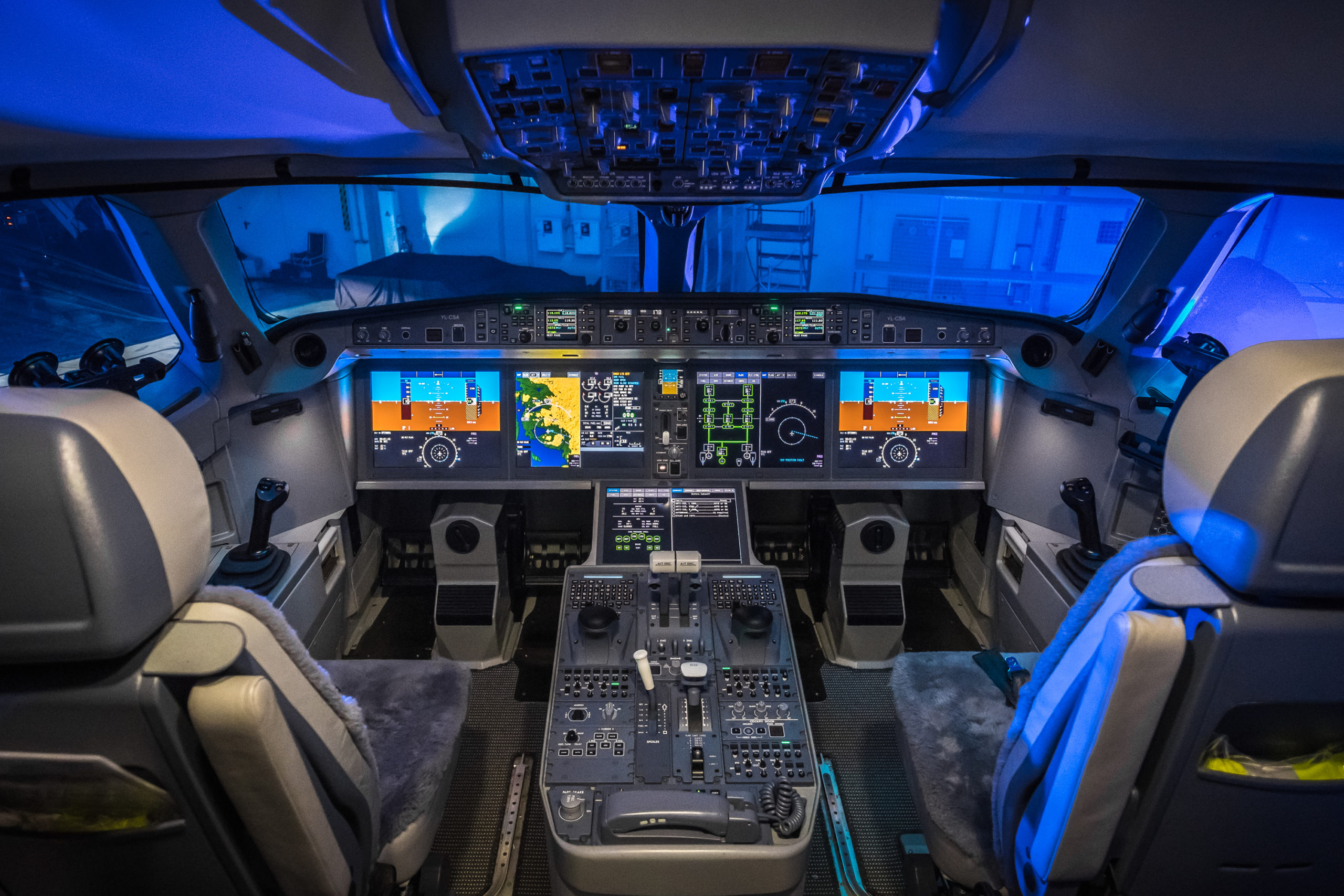 Air Baltic S Bombardier Cs300 Cockpit Featuring Side Stick