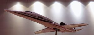 A model of the Aerion AS2 Supersonic Business Jet (SBJ).Note the squareness of the wings, much more like a modern fighter than the classic Concorde delta type wing.