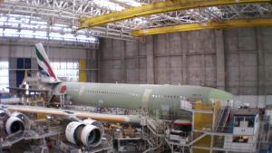 An Airbus A380 destined for Emirates takes shape in the Toulouse factory. When production ends for the Super Jumbo in 2021, there are an estimated 3,500 jobs that will be at risk.