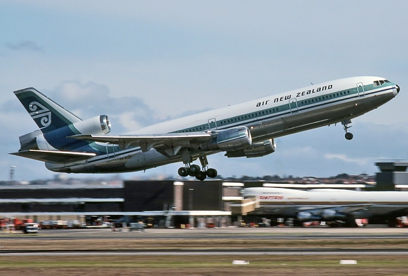 Air New Zealand McDonnell Douglas DC-10-30 (ZK-NZP) takes off at Sydney Airport.