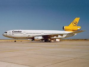 A McDonnell Douglas DC-10-30 of Condor, a German leisure airline based in Frankfurt.