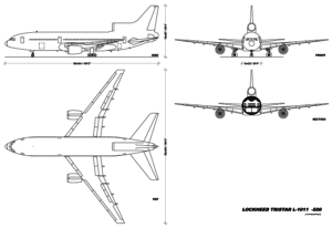 A blueprint of the Lockheed L1011 Tristar 500. The side view particularly shows the main visual difference between it and its rival the McDonnell Douglas DC10.