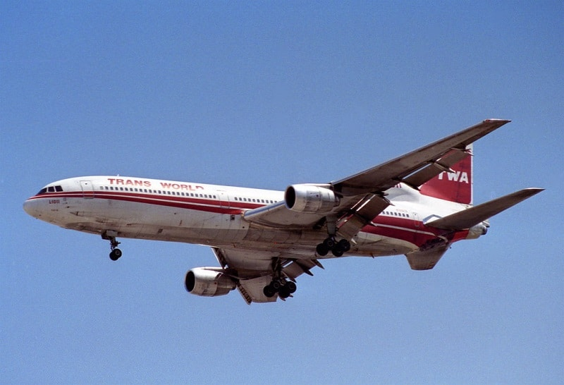 A Lockheed L1011 Tristar of TWA. TWA was an early supporter of this high tech airliner.