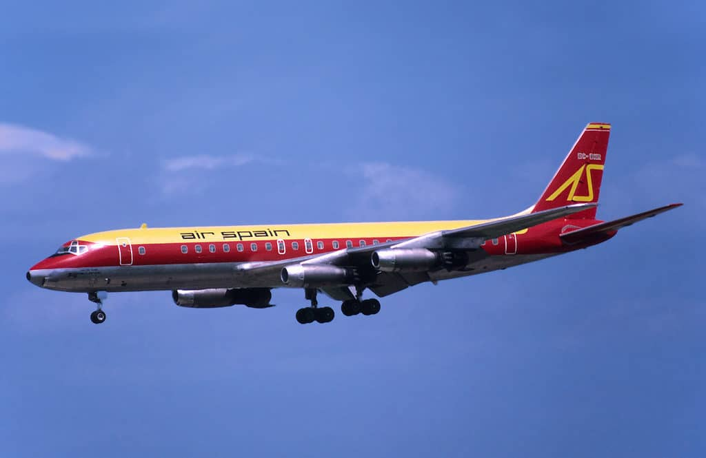 An Air Spain Douglas DC8-21 on approach to land.