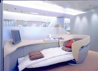 Airbus A380 First Class private cabin sleeping position