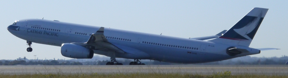Cathay Pacific Airbus A330 rotates at Sydney_s