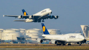 Lufthansa Airbus A380 and Boeing 747-8
