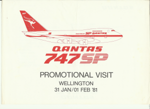 QANTAS was one of the airlines that ordered the 747 SP. Due to its many long routes QANTAS benefited from the long range capabilities of the 747 SP without excess seat capacity. In January 1981 the SP was brought to Wellington New Zealand for a promotional and testing flight. Wellingtons' runway is notoriously short and with water at both ends and fluky winds is a challenge at the best of times. The 747SP was the only 747 to ever have had scheduled services into Wellington.