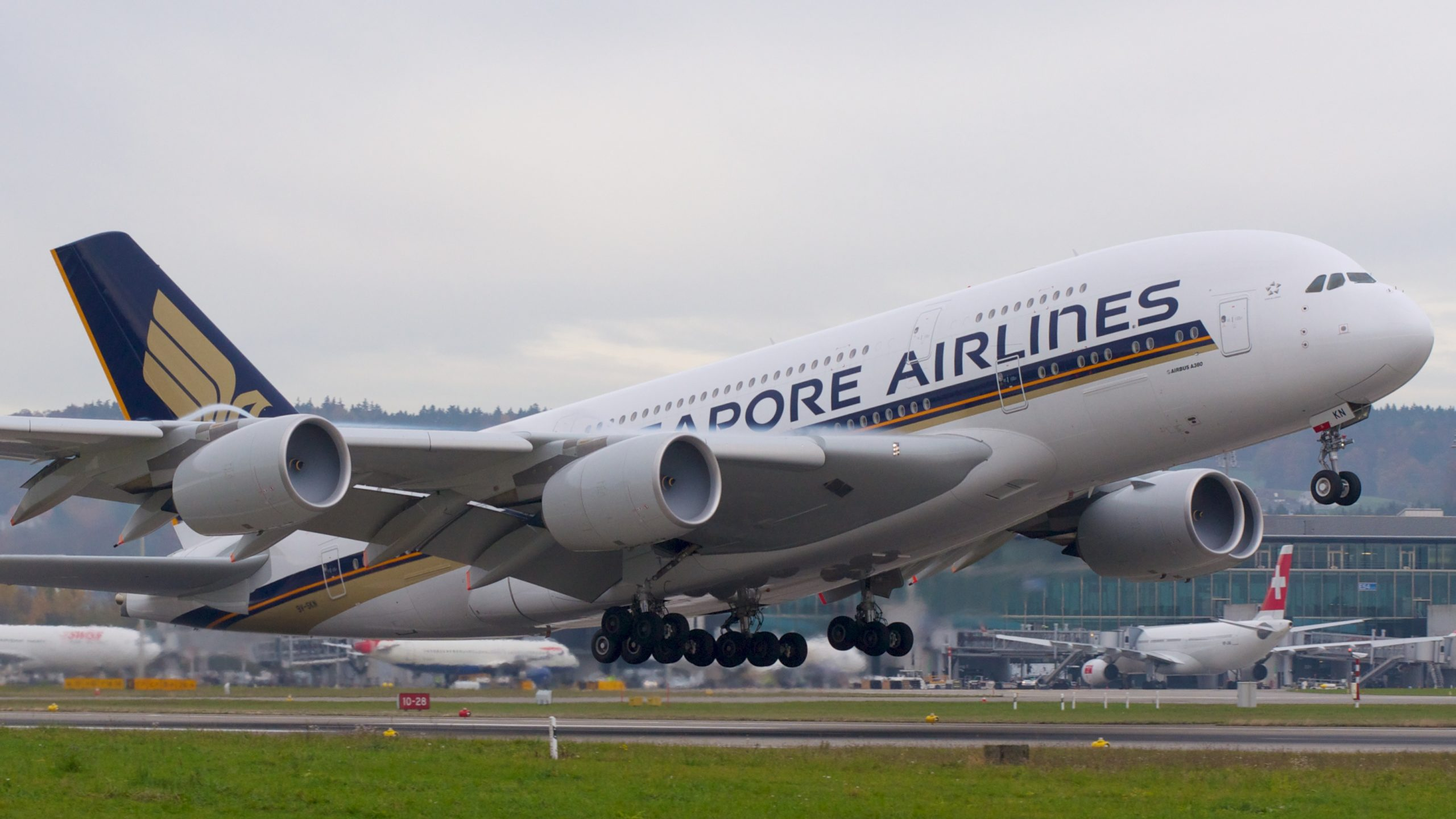 Singapore Airlines Airbus_A380-800 9V-SKN takes off from Zurich.
