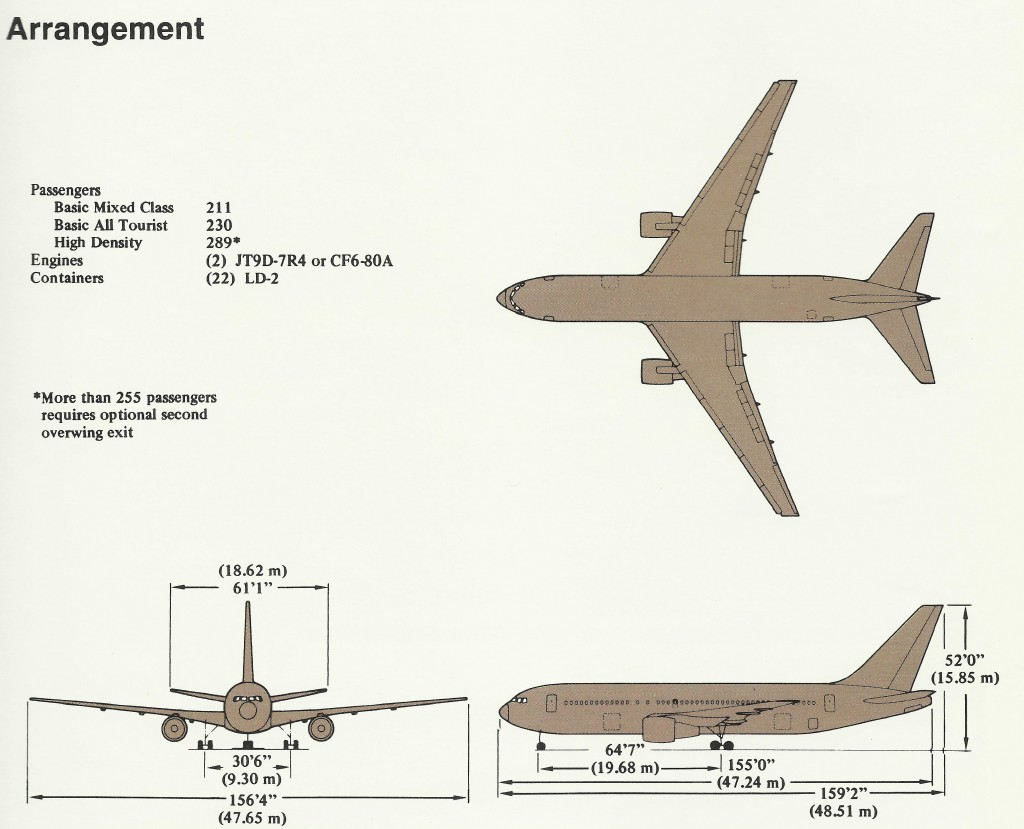 Boeing 767 200 dimensions