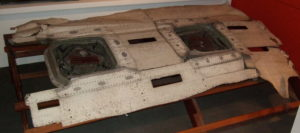 Window section of Fuselage of de Havilland Comet Airliner G-ALYP which was the third Comet built. On 10 January 1954 after taking of from Rome enroute London Heathrow, the aircraft broke up near the island of Elba on the Italian coast.