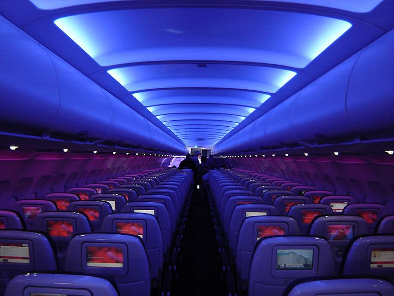 Virgin America A320 cabin.