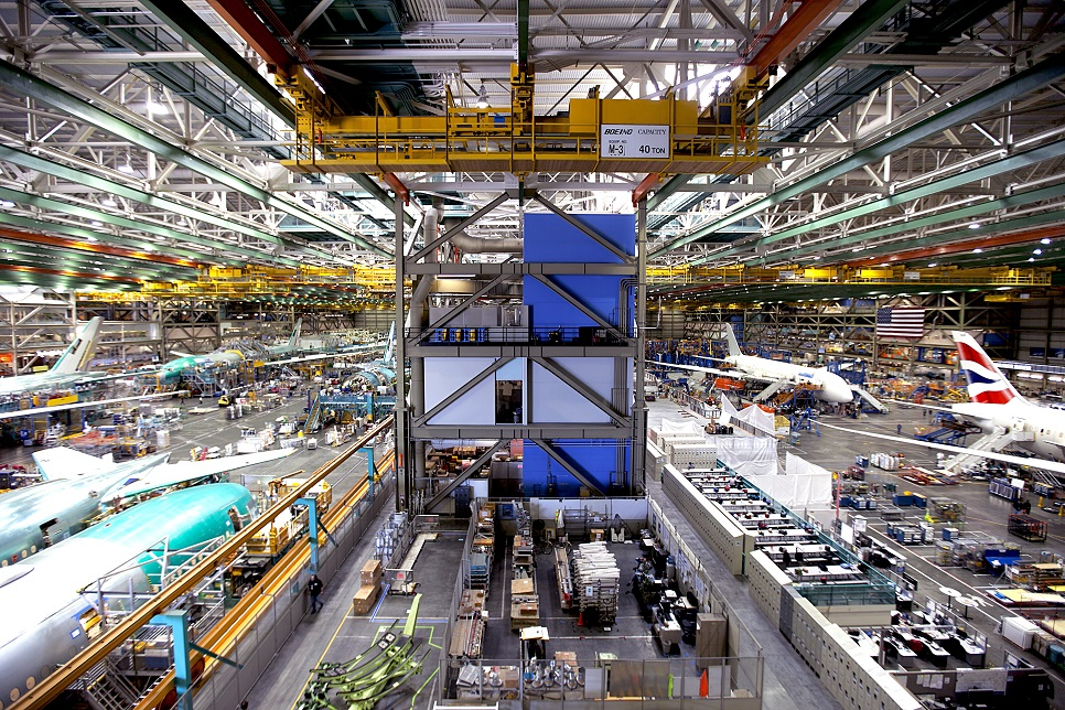 Assembling the Boeing 777 at Boeing's Everett factory near Seattle