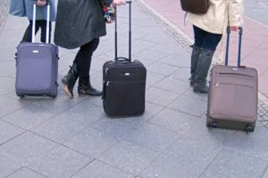 Wheelie bags are popular to use as carry on luggage.