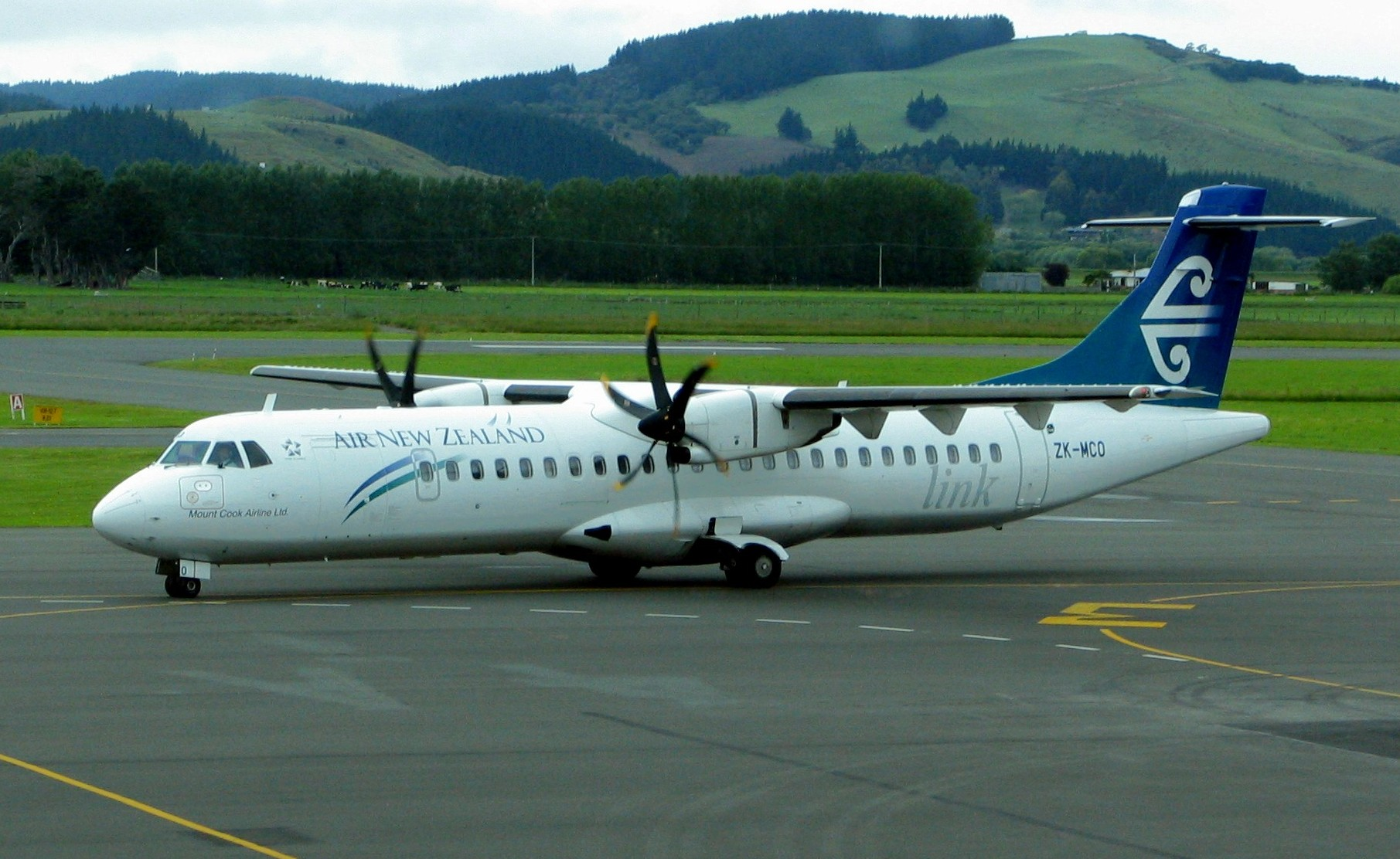 Air_New_Zealand ATR 73 ZK-MCO at Dunedin Airport. The ATR is another example of European aircraft makers collaborating to produce outstanding aircraft.