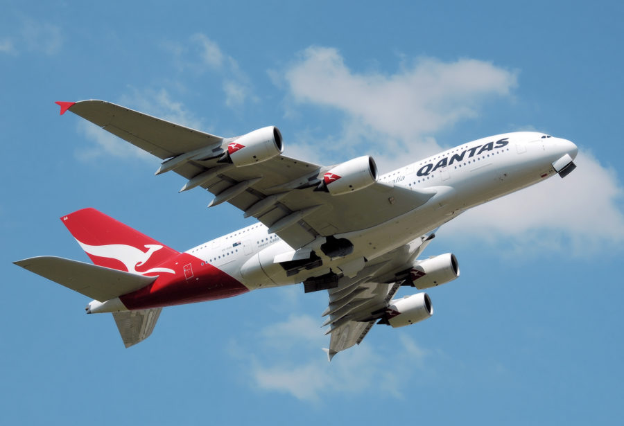QANTAS A380 VH-OQA taking off