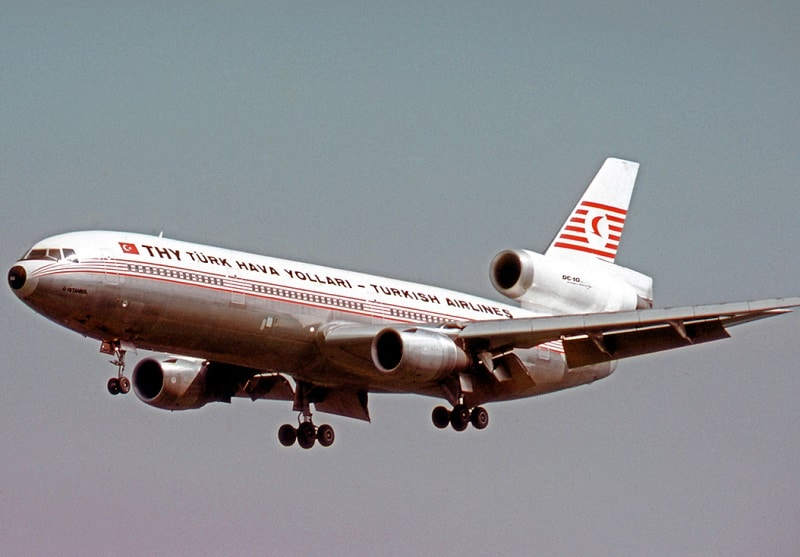 A Turkish Airlines DC-10 was involved in one of the deadliest accidents involving the DC-10 when a cargo door blew off on climb out of Paris.