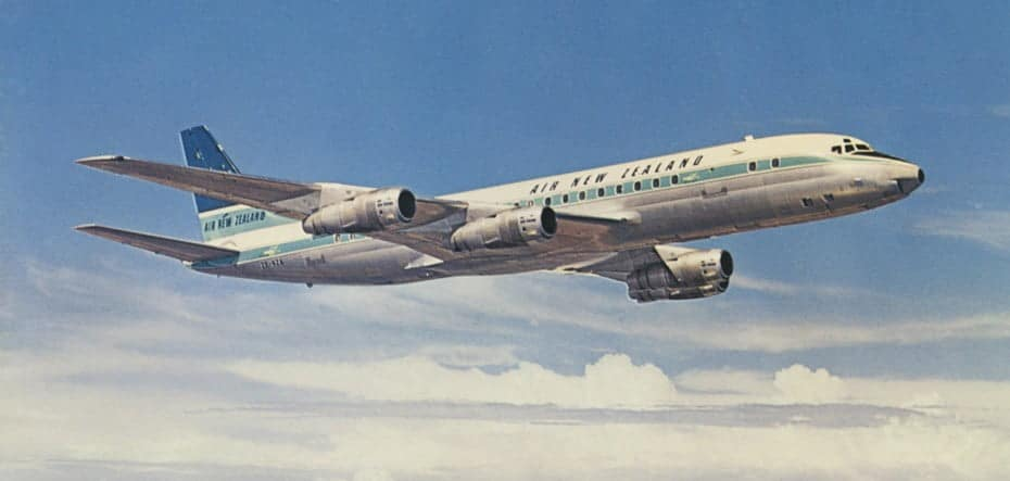 Air New Zealand DC-8 jet aircraft in flight, around 1965.