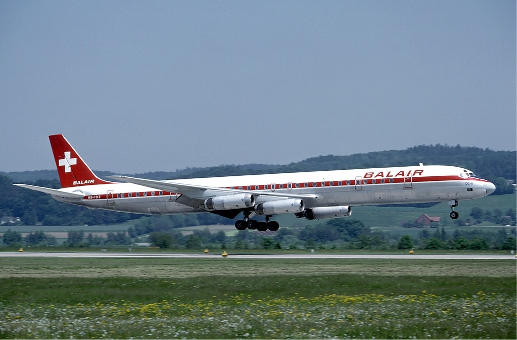 A Douglas DC-8-63 of Balair landing at Zurich Airport in May 1985.