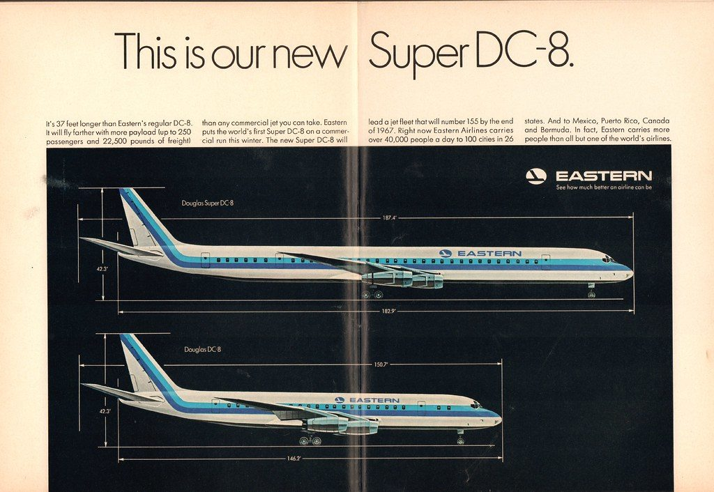 Eastern Airlines Douglas Super DC-8 Advertisement Newsweek 26 September 1966