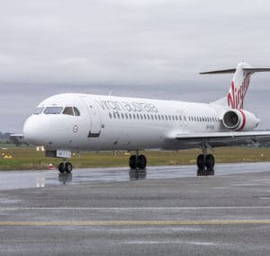 Virgin Australia Regional Airlines VH-FWI Fokker100 taxiing at Wagga Wagga Airport.