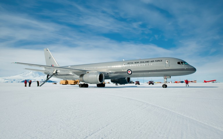 RNZAF(Royal New Zealand Air Force) Boeing lands at Pegasus Airfield on the Ross Ice Shelf during its maiden flight to Antarctica.