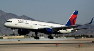 A Delta Air Lines Boeing 757-232 with winglets lands. Delta was one of the largest operators of the 757.