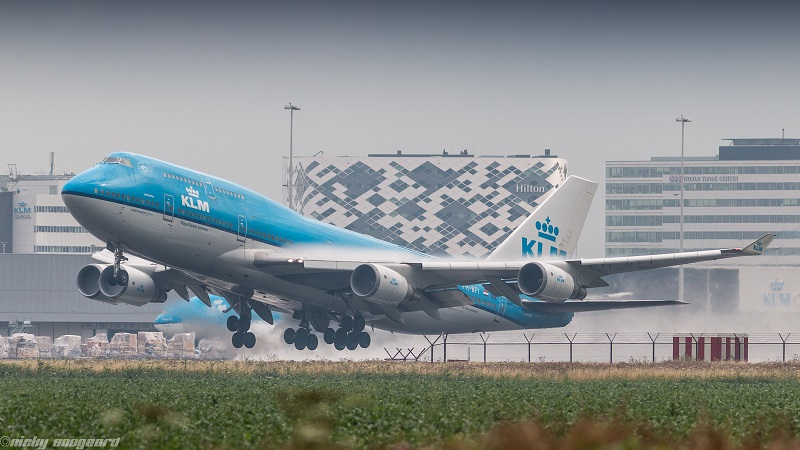 KLM Boeing 747-400 departing from Amsterdam.