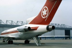 An Air Canada Boeing 727- 233F positioned nicely to demonstrate the air-stairs built into the bottom of the fuselage.