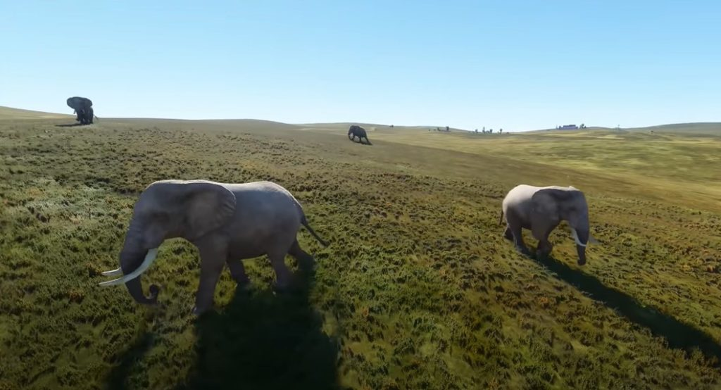 Flight Simulator 2020 life like wildlife, elephants.