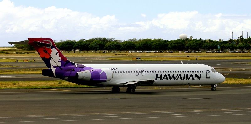 A Hawaiian Airlines Boeing 717-200 taxiing. As of December 2015, Hawaiian Airlines still had 18 of these aircraft in service.