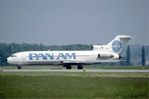 A Pan Am Boeing 727-200 at Zurich Airport in May 1985.
