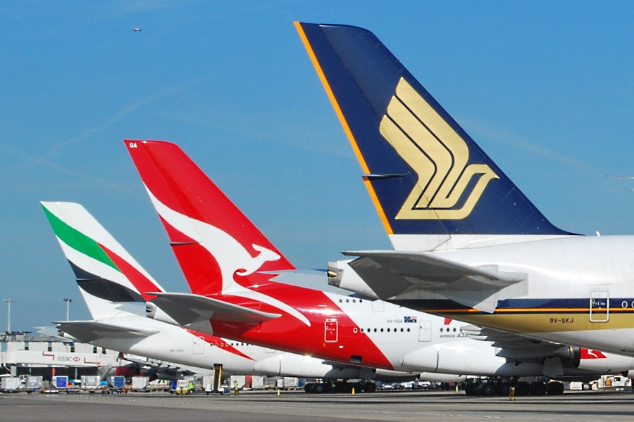 Airbus A380 tails at London Heathrow. These became as common a sight as the Boeing 747.
