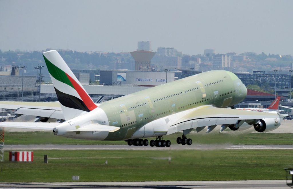 Last ever Airbus A380 takes to the sky in Toulouse