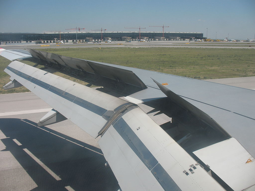 Airbus A320 wing showing flaps, speed brakes and ailerons.