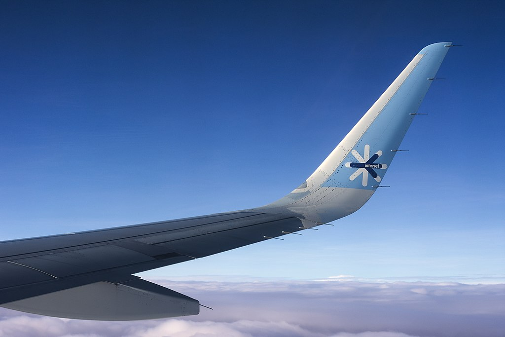 Airbus A321 wing tip with Sharklet belonging to Interjet